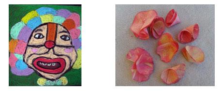 本课是特有的油画棒砂纸画,是用油画棒在打磨用的砂纸的磨面所作的画.