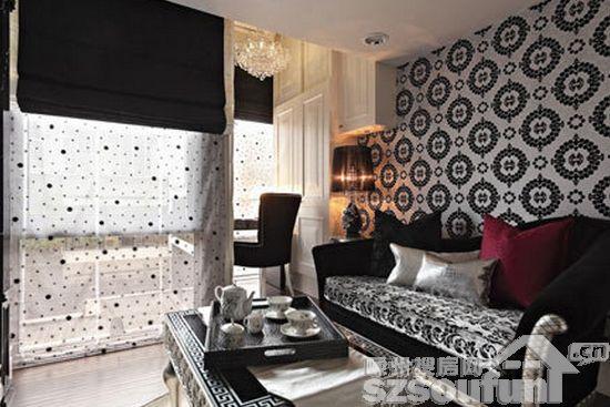 客厅装修壁纸效果图1 在33平的挑高楼中楼里