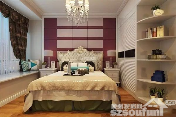 欧式餐桌椅 卧室设计十分圆滑舒适 转角以弧形隔板兼具展示收纳的功能